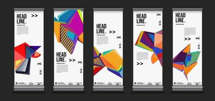 Vector colorful geometric roll up banner