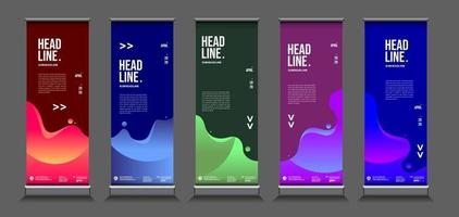Vector colorful geometric and curve roll up banner