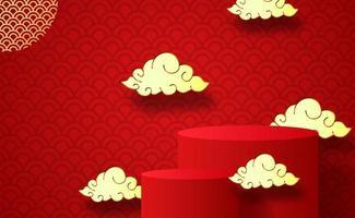 podios y nubes del año nuevo chino vector