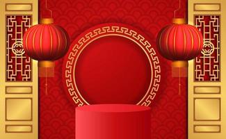 Chinese New Year Podium and Lanterns vector