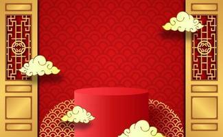 podio de año nuevo chino y nubes vector