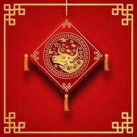 red color fortune lucky with ox zodiac animal Chinese new year banner template vector