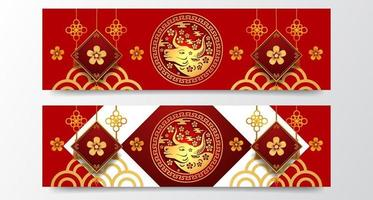 red color fortune lucky with ox 2021 zodiac animal Chinese new year banner template vector