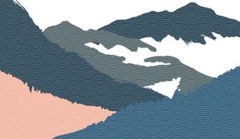 Creative minimalist natural landscape background, Nature mountain landscape painting with Japanese wave pattern vector.