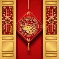 red color fortune lucky with ox zodiac animal Chinese new year with door and hanging decoration vector