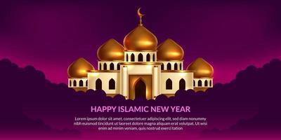 año nuevo islámico. feliz muharram. Ilustración de la mezquita de la cúpula dorada con fondo púrpura. vector