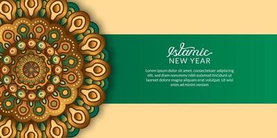Islamic new year. Happy muharram. elegant mandala decorative with green and golden color. vector