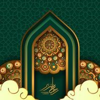 islamic event greeting card template. Illustration of gate door mosque with circle round mandala, ramadan kareem golden calligraphy, and green background vector