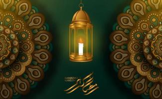 Greeting card template. Illustration of 3D fanoos arabic lantern with geometrical mandala pattern with green background and ramadan kareem calligraphy vector