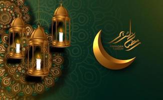 islamic Greeting card template. Hanging 3D golden luxury lantern with arabic geometrical mandala pattern with golden crescent moon, ramadan kareem calligraphy vector