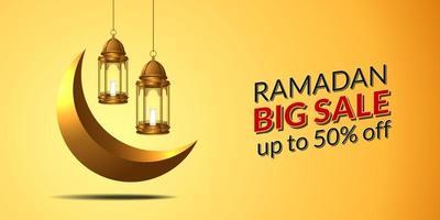 Plantilla de banner de gran venta para Ramadán Kareem con ilustración de linterna colgante dorada 3D y mes de la media luna.