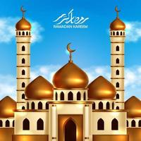 Golden dome mosque building with blue sky background and. Islamic event holy month event poster banner template vector
