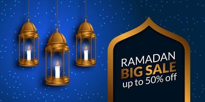 gran venta mes sagrado de ayuno de Ramadán para musulmanes con ilustración de linterna colgante dorada