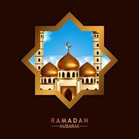 mosque golden dome view at night from star window frame. Islamic event holy month ramadan kareem. vector
