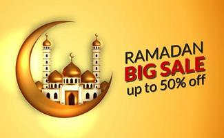 Ramadan sale offer banner template with illustration of  3d golden dome mosque with 3d gold crescent moon illustration. Islamic holy month fasting event. vector