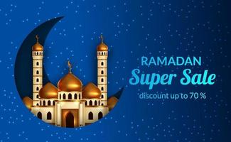 Ramadan sale offer banner template with illustration of golden dome mosque with crescent and blue light background vector