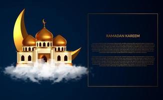 Ilustración 3d del edificio de la mezquita de la cúpula dorada en el cielo de la nube. evento de ayuno del mes sagrado islámico, ramadán. vector