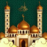 golden dome mosque building illustration with green pattern background and modern calligraphy ramadan kareem. islamic event holy month fasting ramadan. vector