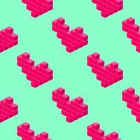 Isometric pixel hearts seamless pattern on light green background. vector