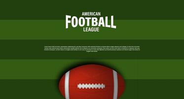 American football rugby poster banner template with 3d oval ball vector