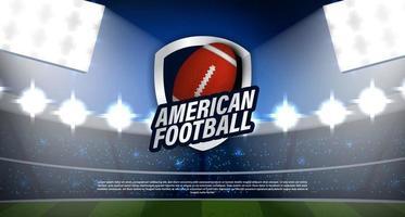 logotipo de rugby de fútbol americano en el estadio vector