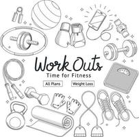 Fitness workouts hand drawn style. Vector illustrations.