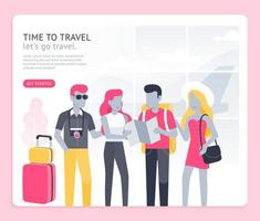 tiempo para viajar conceptual. el hombre y la niña van a viajar ilustraciones vectoriales. vector