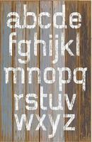 Pintura de color blanco del alfabeto sobre fondo de madera de color retro. ilustración vectorial. vector