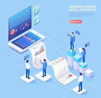 Business mobile vector isometric illustrations.