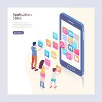 Application store isometric vector illustrations.