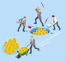 Bitcoin cryptocurrency mining concept. Group of business man use pickaxe working coin mine. Vector illustrations.