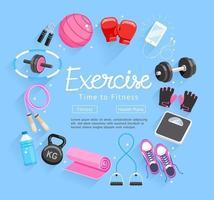 conjunto de equipos de ejercicios. ilustraciones vectoriales.