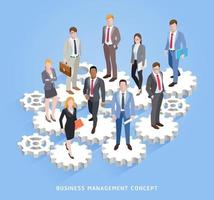 Business teamwork management conceptual. Business men and women standing on cogs and gears. Vector illustrations.