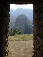 View from a doorway at the top of Machu Picchu, Peru photo