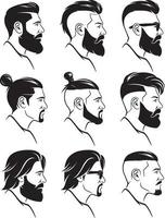 Hipsters men faces collection side view. Vector illustration.