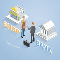 Business partnership connection concept. Two businesspeople handshake. Isometric vector illustration.