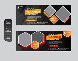 Food cover or banner template set vector