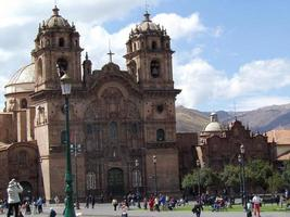 Cusco Peru 2015--Large cathedral in Peru with visitors photo