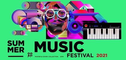 Summer music day festival banner vector