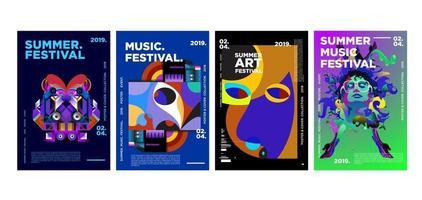 Summer music and art festival poster set vector