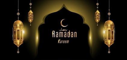 Ramadan kareem islamic golden mosque greeting card vector