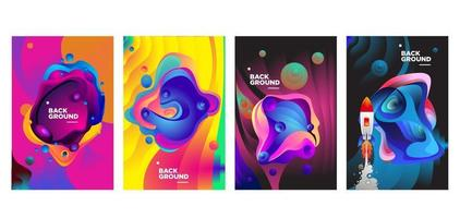 Vector colorful fluid and liquid gradient background banner