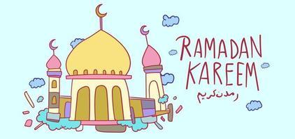 Ramadan kareem islamic mosque kids hand drawn greeting vector
