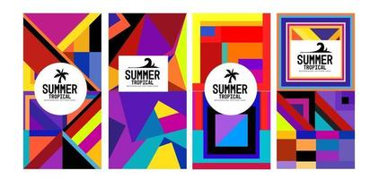 Vector colorful geometric and tropical summer background banner
