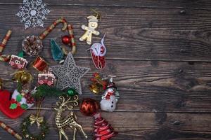 Christmas decor on a wood table photo