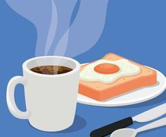 Taza de café con huevo en un diseño de vector de pan y cubiertos