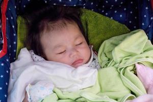 Newborn girl in blankets