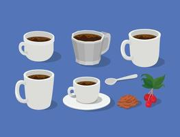 coffee mugs, cups, spoon with berries, leaves, and beans vector design