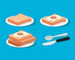 Huevos de desayuno en panes con diseño vectorial de cubiertos vector