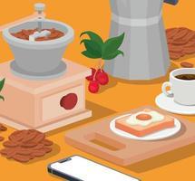 coffee grinder, breakfast, and smartphone vector design